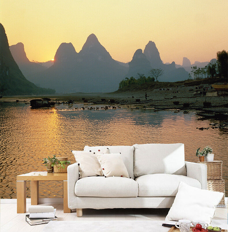 3D Mountains River Small Boats 30 Wall Paper Wall Print Decal Wall AJ Wall Paper