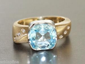 Ring Gold 585 mit 6 Brillanten, Gold Ring 14 KT mit Weissgold mit Blautopaz - Freilassing, Deutschland - Ring Gold 585 mit 6 Brillanten, Gold Ring 14 KT mit Weissgold mit Blautopaz - Freilassing, Deutschland