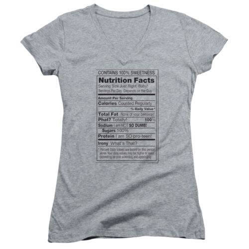 NUTRITION FACTS LABEL 100/% SWEETNESS Juniors V-Neck Tee Shirt