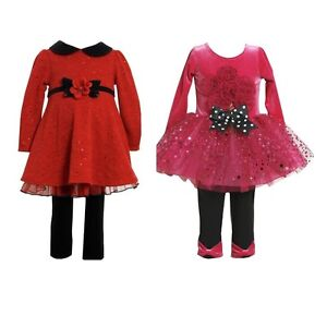 New Bonnie Jean Baby Girl Holiday Dress Tunic   Leggings Set Outfit ... d365eca74780