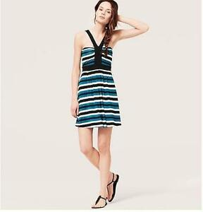 Nwt Ann Taylor Loft Beach Striped Y Neck Dress Sz Xl 50