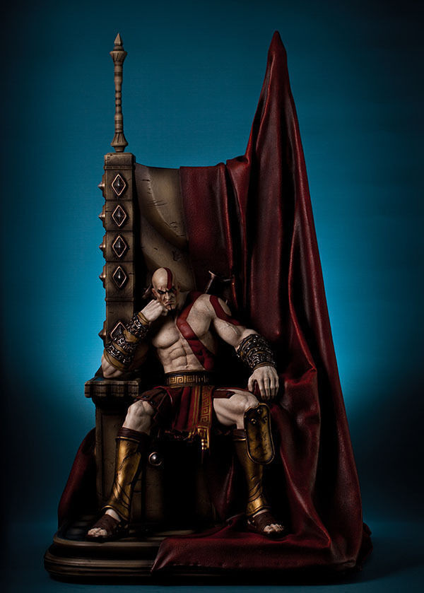 STATUA GOD OF WAR KRATOS ON THRONE 74 CM FIGURE STATUE 1 4 BLADE OF CHAOS GAME 1