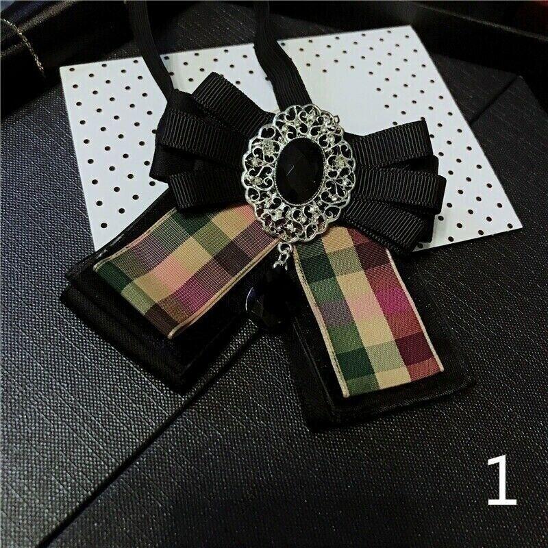 Lady Crystal Bow Tie Bowknot Uniform Ribbon Stripe Check Necktie Rhinestone Deco