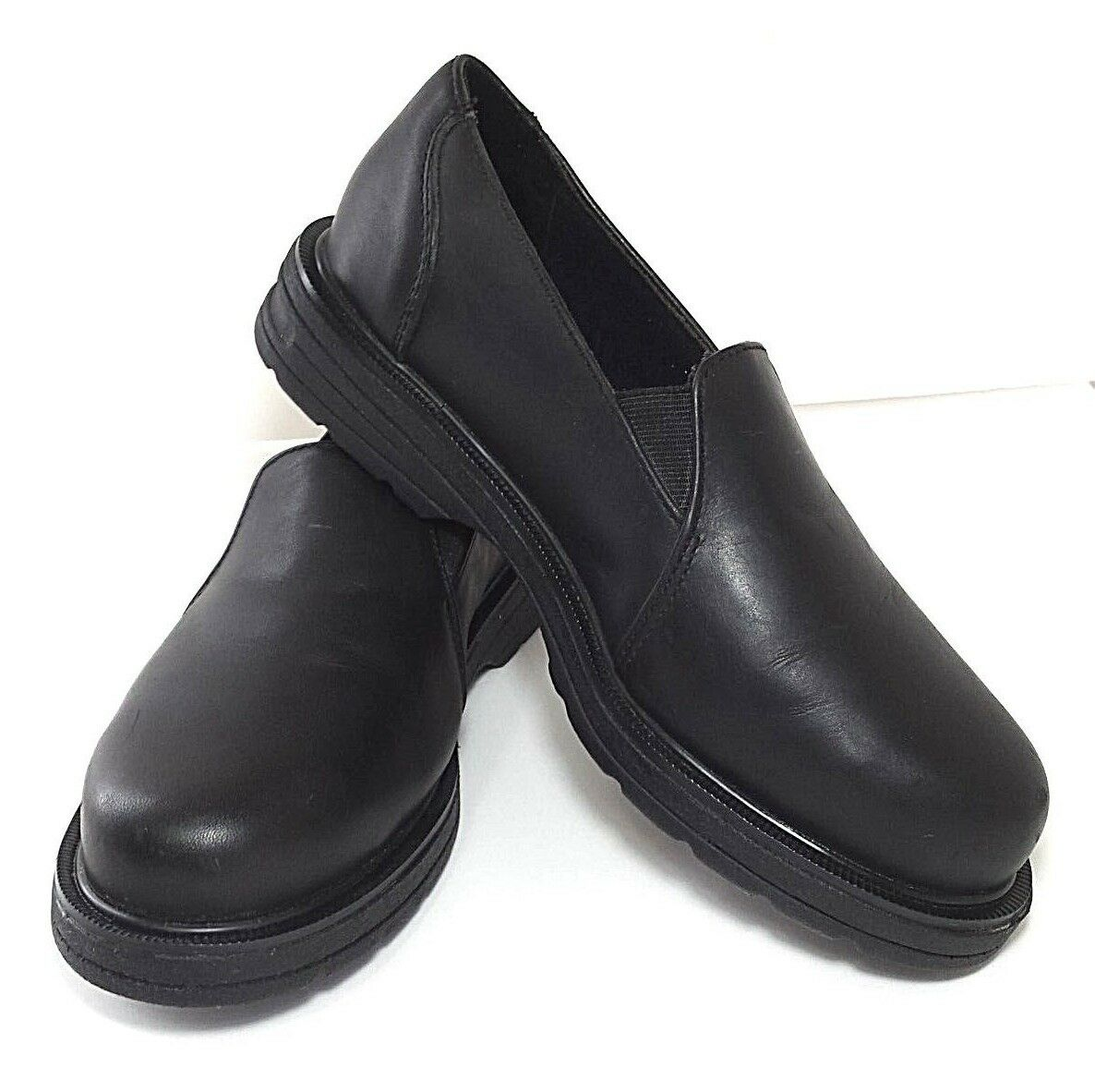 Hush Puppies Professionals Composite Toe Work Shoes Size 7 Black Leather Slip On