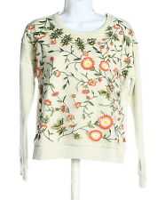 New With Tags Women's ALICE + OLIVIA Ivory Cotton Blend Floral Crew Neck Sweater