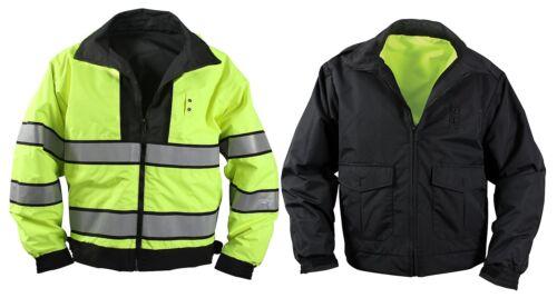 Police Security Reversible Hi-Visibility Yellow//Black Uniform Jacket Guard