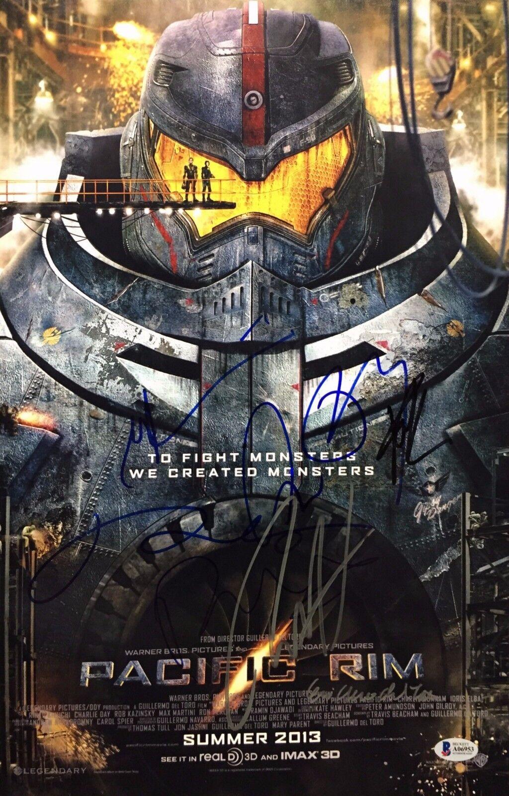 C Hunnam/G Del Toro/Kikuchi/Charlie Day/+3 Signed Pacific Rim 12x18 Photo BAS
