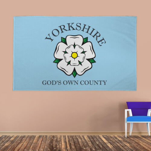 Yorkshire Banner Flag God's Own County White Rose York & Eyelets 4 Sizes Fabric
