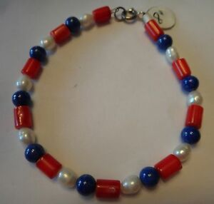 8-034-Sterling-Silver-Red-White-Blue-with-6mm-Lapis-Dyed-Coral-Pearl-Beads-Bracelet