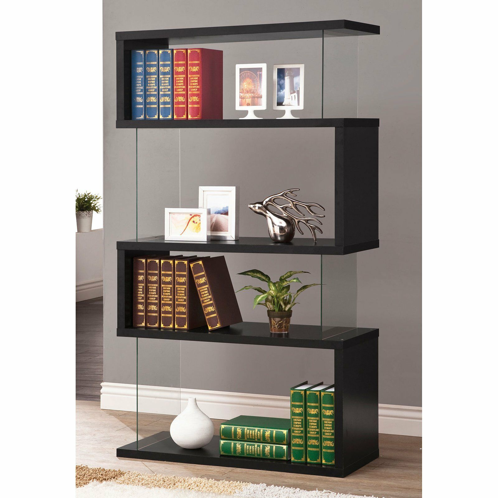 Black Wood Glass Modern Bookcase Bookshelf Shelf Display Living Room Office