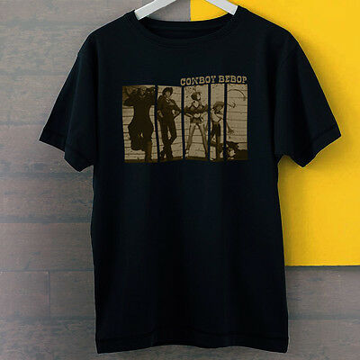 Cowboy Bebop All Character Spike Spiegel And Friends Black Tees T-Shirt S-3XL