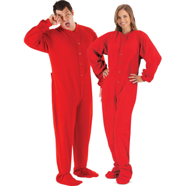 Footed Pajamas With Butt Flap - Milf Porno Red