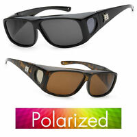 2 Pairs Polarized Cover Over Sunglasses Rx Glass Fit Driving Medium 100% Uv Q