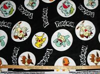Black Pokemon Character Fleece Fabric By-the-yard Pikachu And More