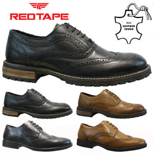 mens red tape real leather lace up casual office smart