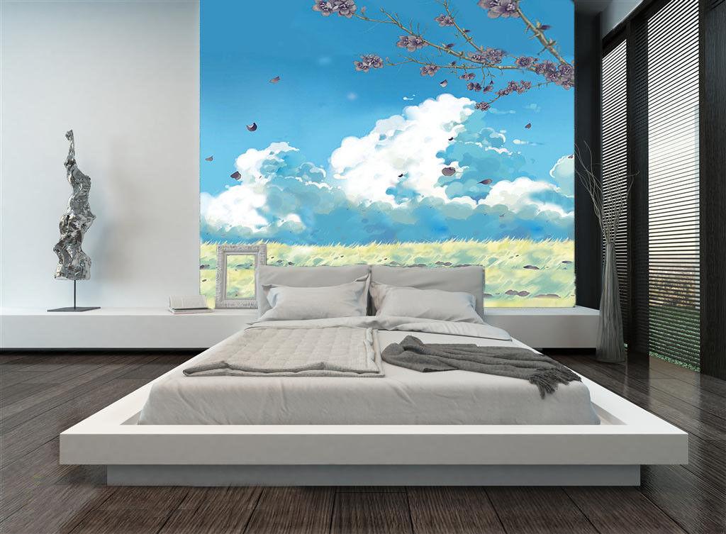3D Cloud Peach 4138 WandPapier Murals Wand Drucken WandPapier Mural AJ Wand UK Lemon