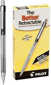 NEW Pilot The Better Retractable Ballpoint Pen, Fine Point, Black, Pack of 12