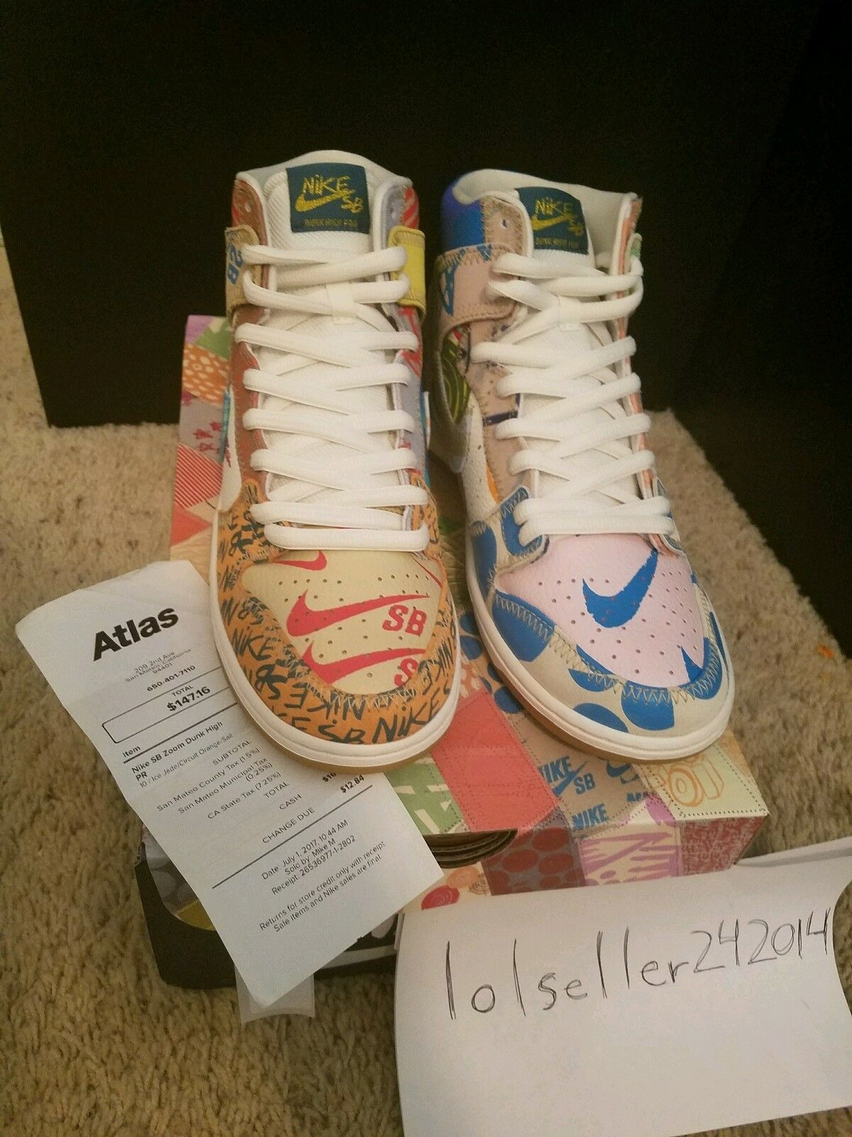 Nike SB What the Dunk High x Thomas Campbell Size 10 Special Atlas Packaging