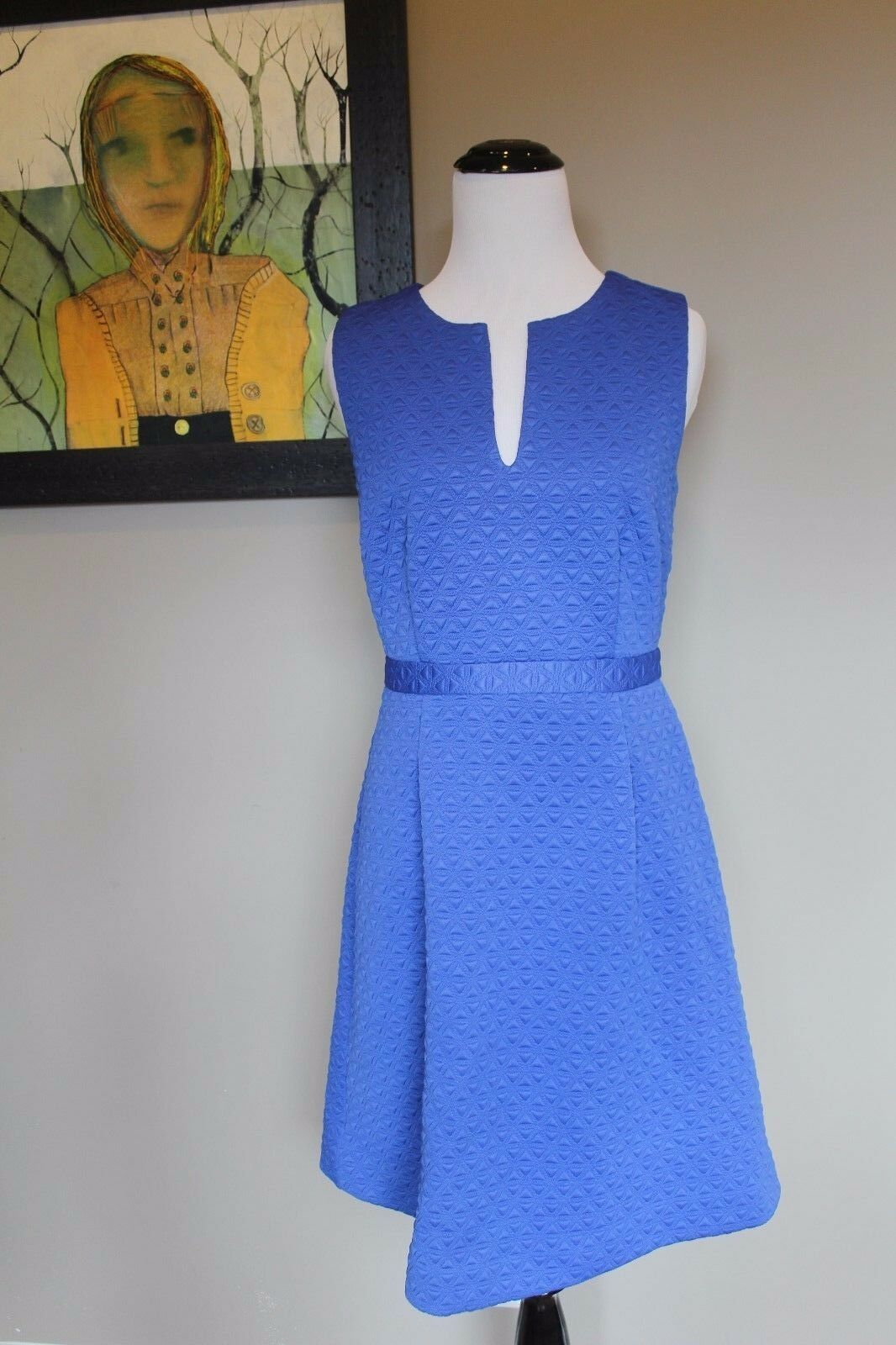 NWT J Crew Sleeveless Textured Jacquard Dress Bistro bluee C4507  Sz 4 Small