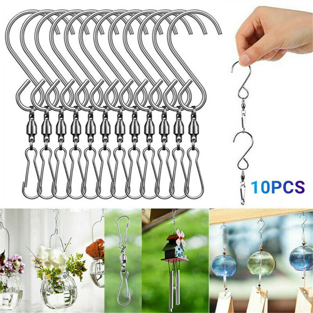 10Pcs Swivel Hooks Clips Rotating S Hooks for Hanging Wind Spinners Wind Chimes