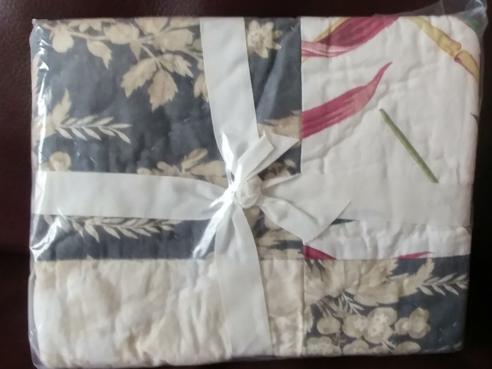Set 2 Pottery Barn Bari Floral Patchwork Multi color Quilted Shams Standard NEW