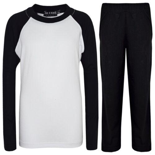 Kids Girls Boys Pyjamas Designer Plain Black Contrast Sleeves Nightwear PJS 2-13
