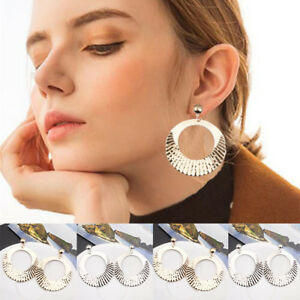 1-Pair-Gold-Silver-Platerd-Geometric-Circle-Metal-Women-Fashion-Drop-Earrings