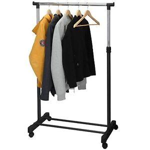Single Extendable Garment Hanging Coat Clothes Rail Portable Rack WheelsMultiuse