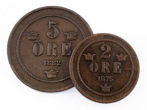 1875 Kingdom of Sweden 2 Ore Coin