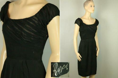 Vtg 50s RAPPI Ruched Chiffon Organza Rockabilly Co