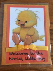 Baby-Boy-Card-Sweetest-Yellow-Duck-Messy-Hair-Big-Feet-Ribbon-Handmade