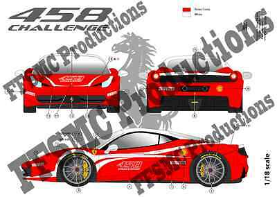 "FFSMC Productions Decals 1//43 Ferrari F-458 Challenge /""Présentation/"""