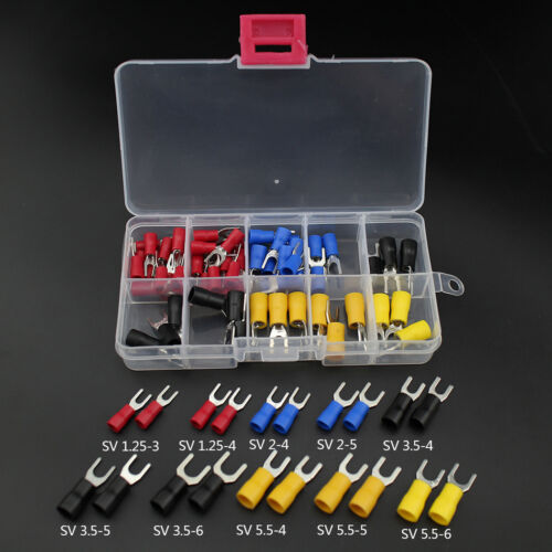 80pcs Fork Wire Terminal Copper Crimp Connector Insulated Cord Fork End Set