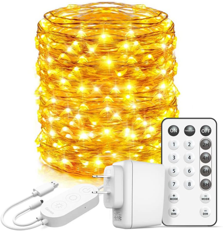 66 FT Christmas Decoration 200 LED Fairy Lights Plug in Remote Control 8 Scence