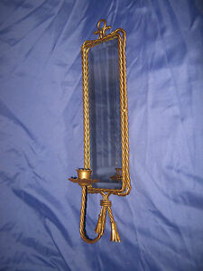 Vtg homco home interior gold twisted rope mirrored single for Home interior 5 arm sconce