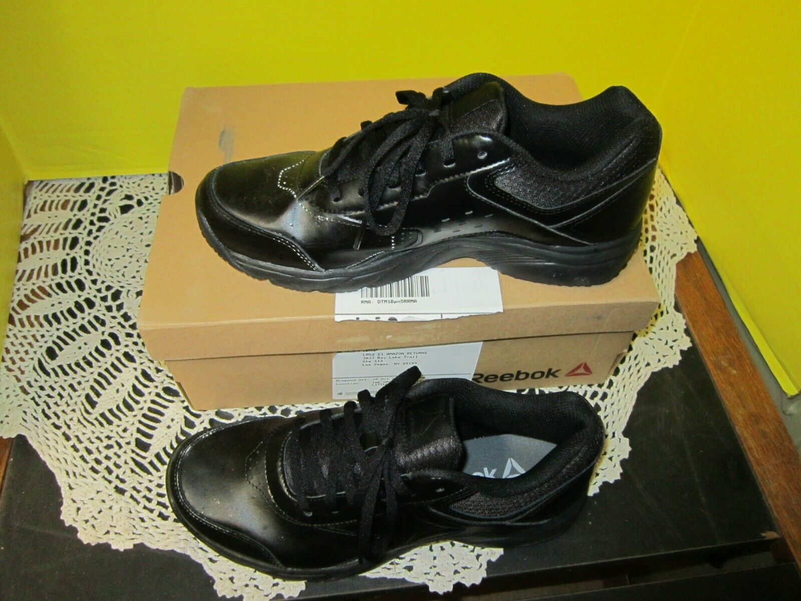lote preocupación consenso  Reebok Work N Cushion 3.0 Womens Walking Shoes BS9527 Black Faux Leather  8.5 M 191036636414 | eBay