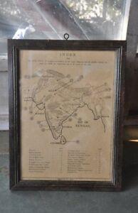 Vintage-Incorniciato-Unico-Antico-Medival-Litografia-B-amp-w-Mappa-da-Collezione