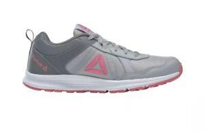 Reebok-Kids-Almotio-4-0-Sneaker-Grey-Pink-White-Running-Shoes-Size-4-Girls