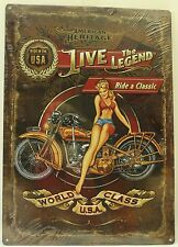 LIVE THE LEGEND EMBOSSED TIN SIGN Motorcycle Pinup NEW Vintage Retro Metal