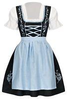Dirndl Set 3 tlg.Trachtenkleid Kleid, Bluse, Schürze, Gr. 34-52 Neu OVP SchBlau