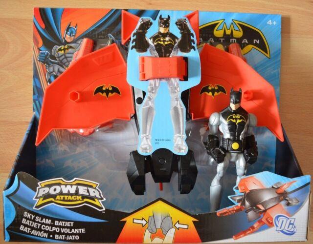 Mattel Batman Power Attack Sky Slam Batjet + Batman-Figur W7276 Spielzeug Kinder