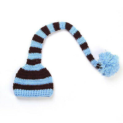 Baby Hat Newborn Christmas Elf Long Tail Striped Crochet Beanie Cap Photo Props