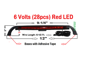 BL-2099R-6V 6V only  Red 28Pcs Red LED Third Brake Light