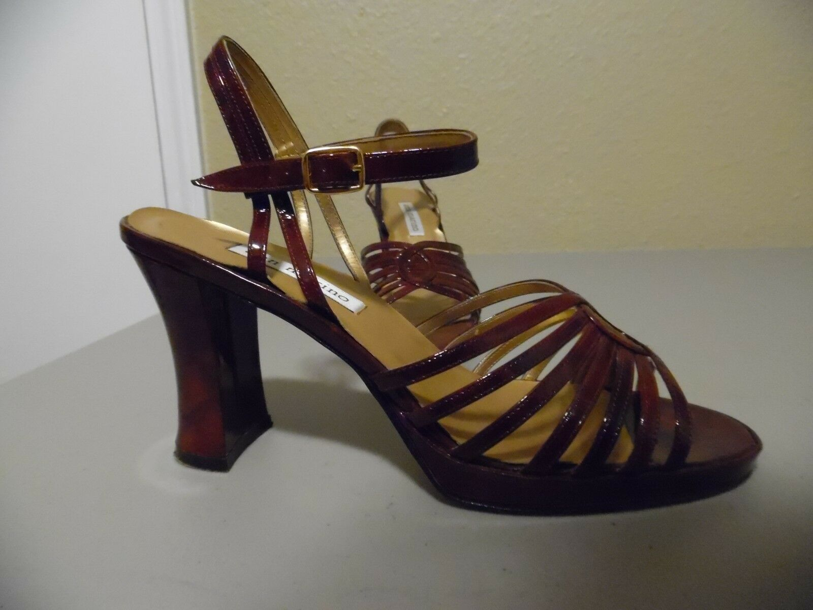 ANN MARINO Ladies Teens Brown Patent Leather Heels Shoes Strappy Sz 8.5 M