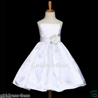 White Party Communion Bridesmaid Wedding Flower Girl Dress 12M 18M 2 4 6 8 10 12