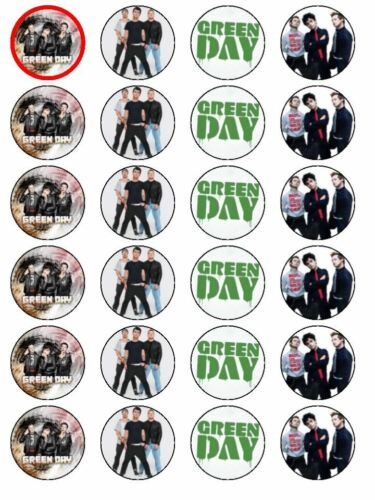 24 X GREEN DAY MIXED WAFER PRE CUT BIRTHDAY RICE PAPER CAKE TOPPERS