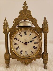 Antique Working 1878 KROEBER Victorian Gothic Cathedral Mantel Shelf Alarm Clock