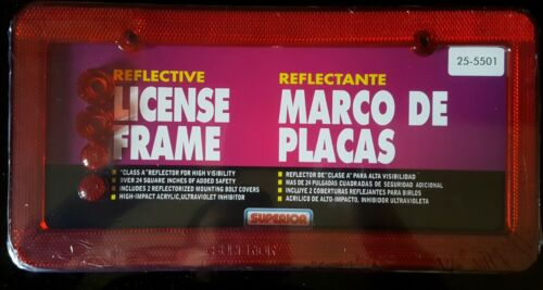 2 Reflector Reflective Red Plastic License Plate Frames with bolt covers caps