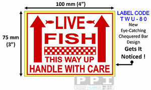 red live fish this way up handle with care labels stickers 100x75mm