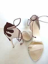 Alexandra Neel Ivory/Brown Sandals Heels w/Sexy Ankle strap sz 8 Euro 38